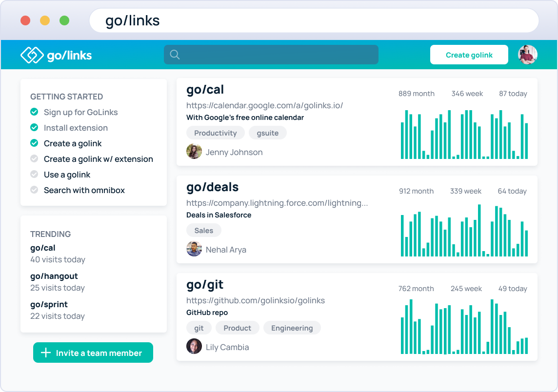 All your golinks in one simple-to-use dashboard