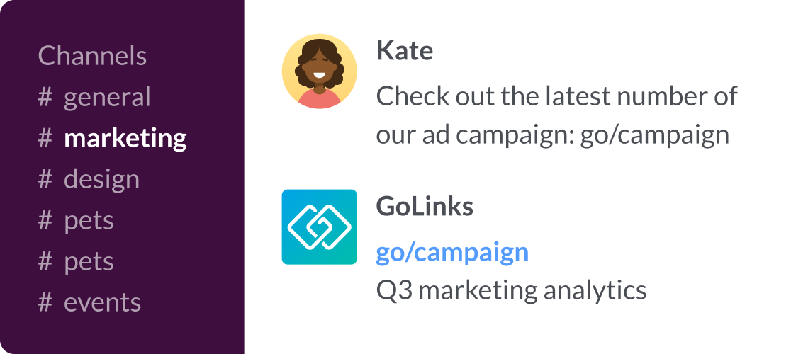 GoLinks integration with Slack